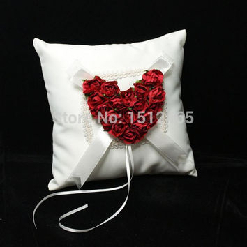 Free shipping,New style Red Rose Love Heart Satin Wedding Ring Pillow Wedding Ceremony Party Stuff Accessories JZ37