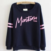Letter Print Fleece Sweater B0014300