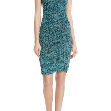 DVF Bias Mesh Overlay Body-Con Dress | Nordstrom