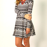 Liberty Geometric Fit & Flare Dress: Black & White