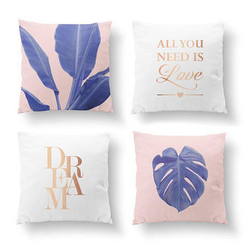 SET of 4 Pillows, Ultra Violet Monstera, Love Art, Dream Quote, Gold Pillow, Banana Leaf Pillow, Bed Pillow, Throw Pillow, Cushion Cover
