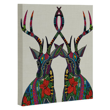 Sharon Turner Poinsettia Deer Art Canvas