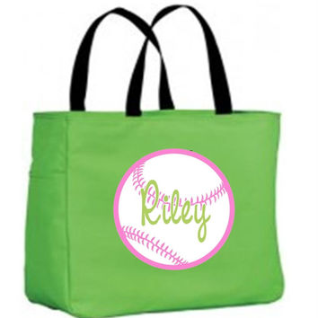 Girl's Softball on Personalized Lime Tote Bag