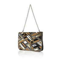 River Island Womens Gold leather embellished clutch bag