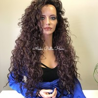Burgundy Red Wavy Hair SWISS Lace Front Wig