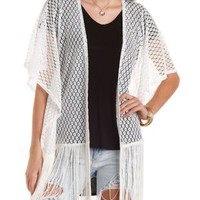 Fringe-Trim Crochet Kimono Top by Charlotte Russe
