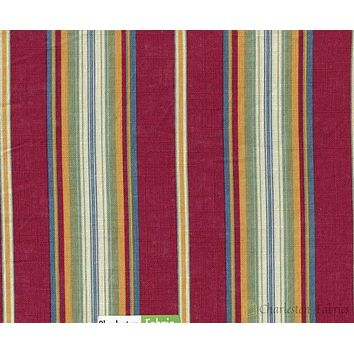 Paula Cir Stripe Fabric By Edgar Burgundy Blue Green  Gold