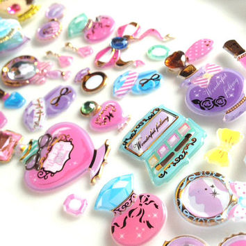 princess dressing stuff sticker fancy Perfume bottle Glitter mirror mini cosmetic beauty dress up games sticker little girl lovely gift