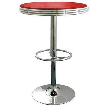 AmeriHome Soda Fountain Style Height Adjustable Home Kitchen Dining Pub Room Bar Table Red