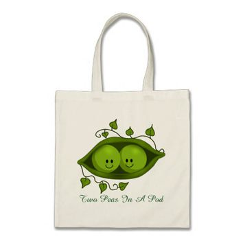 Cute Two Peas In A Pod Tote Bag