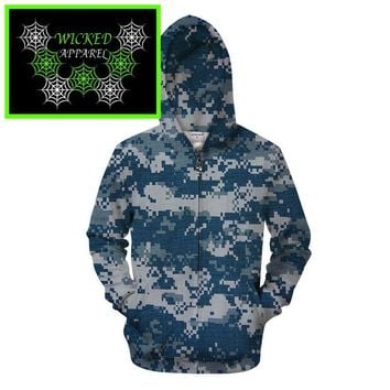 Wicked Apparel Blue Digi Camo Hoodie #72