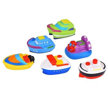 6pcs Floating Rubber Boat Squirt Toys