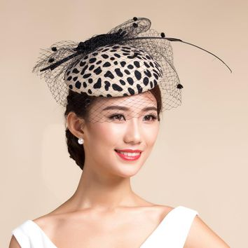 Vogue Party leopard Fedora Top Hat For Women Elegant Ladies Australian Wool Winter Hat leopard Feather Wedding Church Veil Hat