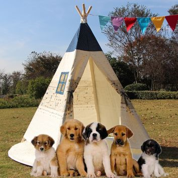 Large Kids Pet Teepee Canvas Play Tent Tipi Outdoor Beige with Cushioned Floor Mat