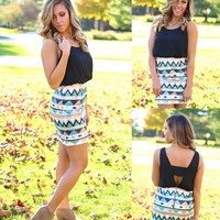 Tres Chic Tribal Dress in Black