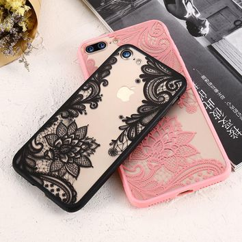 FLOVEME 3D Lace Flower Cover For iPhone 7 iPhone 6 6S Plus Case 5S SE Transparent Phone Cases For iPhone 7 6 5S Accessory Coque