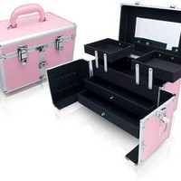 Pink Aluminum Makeup Train Studio Case Makeup Train Cases