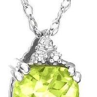 10k White Gold, August Birthstone, Peridot and Diamond Pendant
