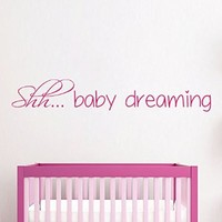 Wall Decals Vinyl Decal Sticker Home Art Mural Interior Design Quote Shh Baby Dreaming Kids Nursery Baby Room Boy Girl Bedding Decor