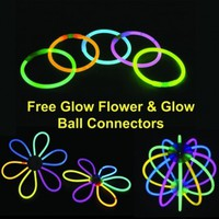 "8"" Glow Stick Bracelets with Free Ball Connectors (Tube of 100)"