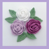 3 small crochet roses and 6 crochet leaves, appliques and embellishments