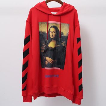 OFF-WHITE autumn and winter tide brand couple models Mona Lisa print hooded sweater Red