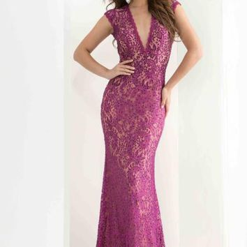 Jasz Couture Sleeved Lace Dress 5816