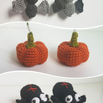 Halloween set toys spider bat pumpkin keychain halloween decor plush toys halloween decoration crochet amigurumi Gift for trick or treat bag