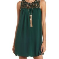Embroidered Lace Yoke Chiffon Shift Dress - Emerald