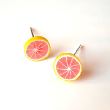 Pink Grapefruit Slice Stud Earrings Polymer Clay by MistyAurora