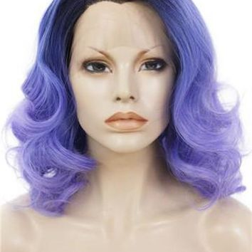 Short Rosemary Lavender Wave Synthetic Lace Front Wig