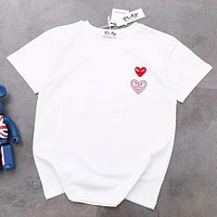 PLAY Summer Fashion New Bust Love Heart Diamond Couple Top T-Shirt White