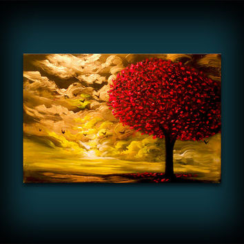 Palette knife thick metallic gold and red tree painting - 24 x 36 textured lollipop tree / cloud art - Mattsart
