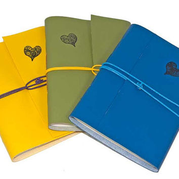 Three Colorful Faux Leather Pocket Jot Journals