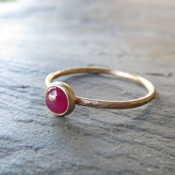 14k Gold Ruby Ring - 5mm Round Unfaceted Ruby in Hammered, Matte Gold - Ruby Engagement Ring, Stacking Ring, Mother's Ring - July Birthstone
