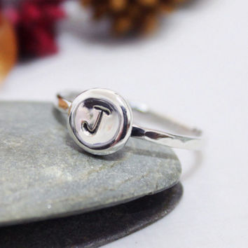 Thin Band Custom Initial Letter Ring/ Personalized Ring/ Stacking Ring/ Hammered Ring/ Everyday Ring