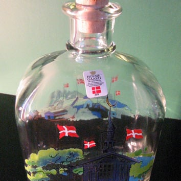 Holmegaard Glass Decanter Silver Top Pull Cork Stopper Danish Castle