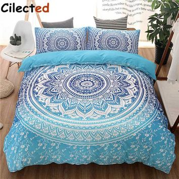 Cilected Bohemian Bedding Sets Mandala Printing Blue White Duvet Cover Set Queen King Size Cotton Bedlinen Bedsheet Pillowcase