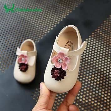 Claladoudou 11.5-13.5CM Baby Pu Leather Shoes Strap Flower Gray Princess Shoes Toddler Girls Party Wedding Shoes Infant Shoe T10