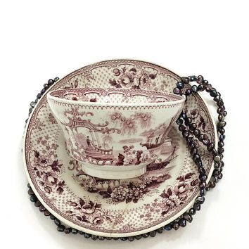 John Ridgway Georgian Tea Cup and Saucer, Japonica Pattern, Mulberry Transferware, 1830s, Antique Chinoserie Earthen Ware Porcelain
