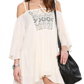 Beige Long Sleeved Off the Shoulder Tunic Dress with Crochet Details