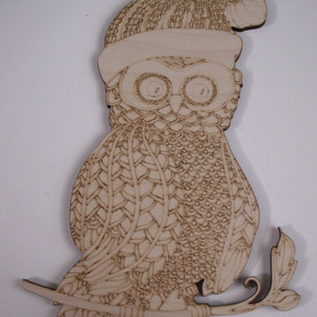 Christmas Owl Wood Cutout, Laser Cut, Unfinished Wood, Home Decor, Wall Art, Ready to Paint Wood Shapes, Wreath Accent, Owl Door Hanger