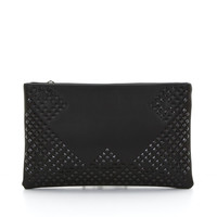Tonal Studded Clutch in Black