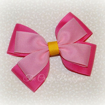 Pink Hair Bow ~ Pink & Yellow Bow ~ Pink Layered Bow ~ Large Pink Bow ~ Pink Boutique Bow ~ Pink Headband ~ Sleeping Beauty Bow ~ Aurora Bow