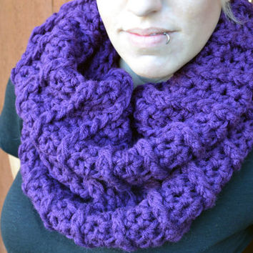 Purple ribbed crocheted winter scarf, cowl, neck warmer