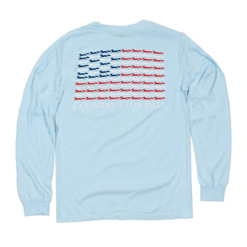 Longshanks Stars and Stripes Long Sleeve Tee Shirt in Chambray by Country Club Prep