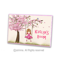 Personalized Kids Door Sign- kids wall art, cherry blossom tree door sign for children's room, children decor, kids sign, girls sign