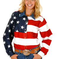 Roper Ladies Stars & Stripes Pieced American Flag Americana Usa Flag Long Sleeve Shirt Button Closure