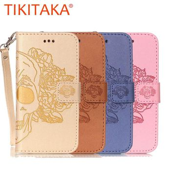 Wallet Leather Phone Cases For iPhone 7 6 6s Plus SE 5 5s Cover Capa Fashion Retro Embossed Skull Flower Pattern With Card Slot