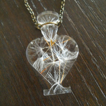 Miniature bottle necklace, real dandelion in resin, real flower necklace, resin flower jewelry, botanical art, dandelion pendant